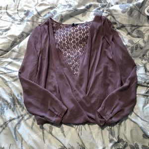 RW&Co Sheer Blouse with Lace Back